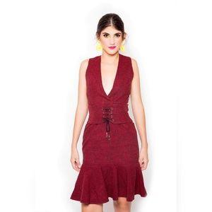 Red plaid wool vintage inspired hem pleated dress